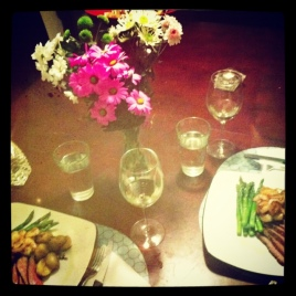 dinner and flowers